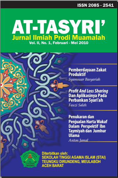 JURNAL AT-TASYRI' VOLUME II, NO 1 FEBRUARI - MEI 2010