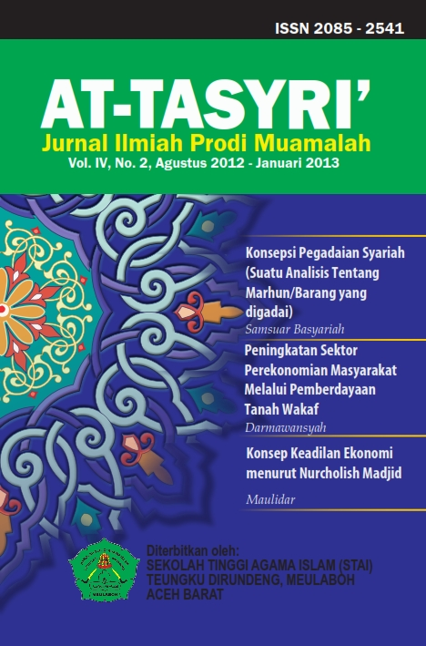 COVER JURNAL AT-TASYRI VOLUME IV, NO 2, AGUSTUS 2012 - JANUARI 2013